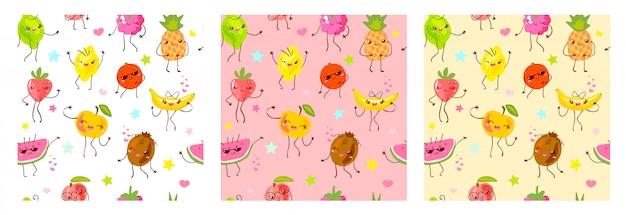 Jednolity Wzór Słodkie Owoce Znaków. Styl Dziecka, Truskawka, Malina, Arbuz, Cytryna, Bananowy Pastelowy Kolor Tła. Kawaii Emoji, Postacie, Uśmiech Ilustracji Premium Wektorów