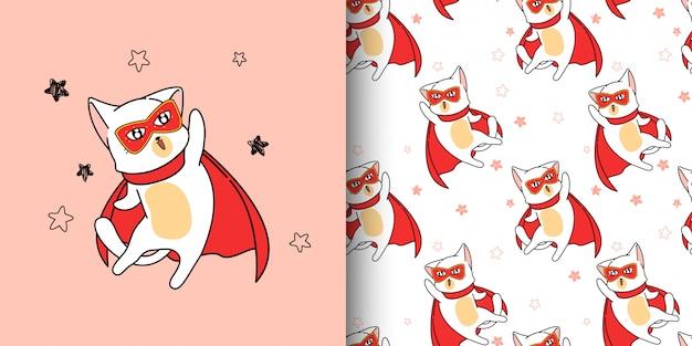 Jednolity Wzór Super Bohater Kot W Stylu Cartoon Premium Wektorów