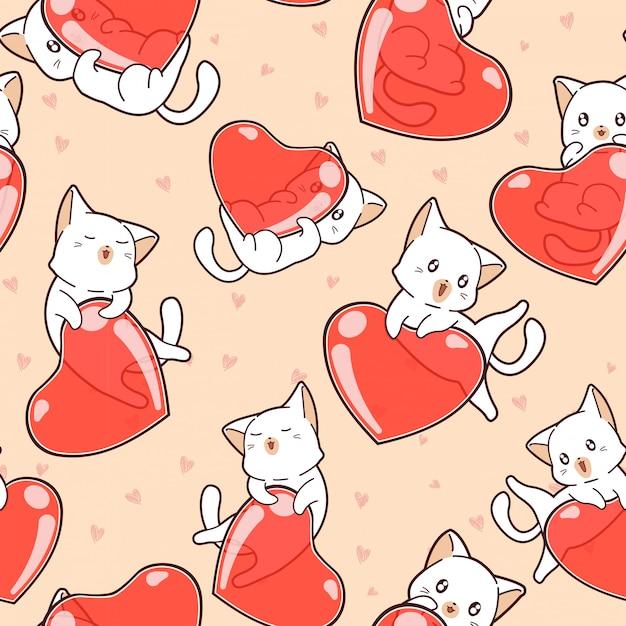 Jednolity Wzór Urocze Koty I Serca W Walentynki Premium Wektorów
