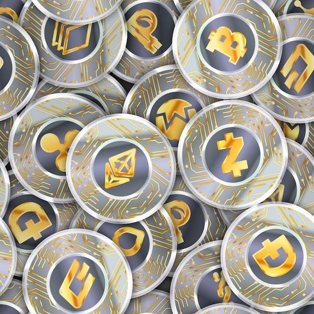 Jednolity Wzór Z Dużą Ilością Monet Z Mikroczipem I Najpopularniejszymi Znakami Kryptowalut, Takimi Jak - Bitcoin, Ethereum, Ripple, Litecoin, Peercoin, Nxt, Namecoin, Bitshares, Stratis, Dash I Zcash Premium Wektorów