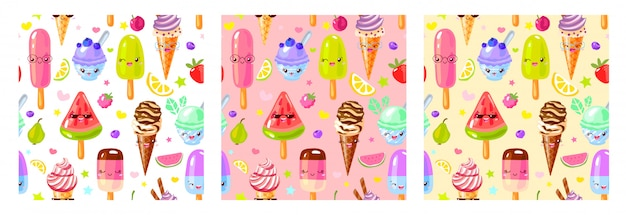Jednolity Wzór Znaków Słodkie Lody Owocowe. Styl Dziecięcy, Truskawka, Malina, Arbuz, Cytryna, Bananowy Pastelowy Kolor Tła. Premium Wektorów