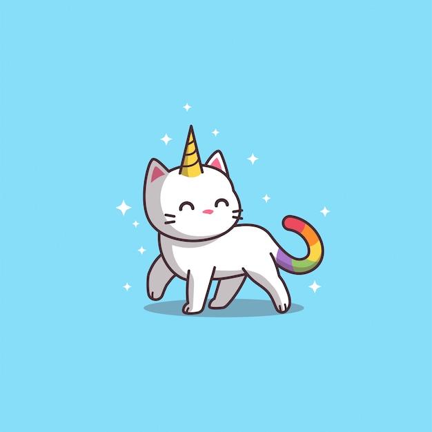 Jednorożec Kot Na Niebiesko Premium Wektorów
