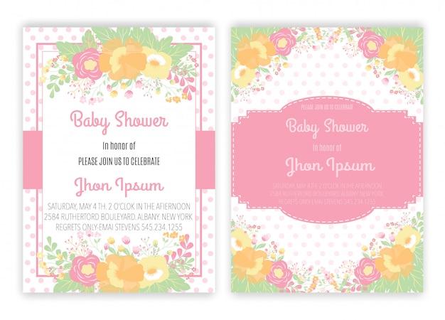 Jednorożec kwiatowy jednorożec wystrój karty baby shower. Premium Wektorów