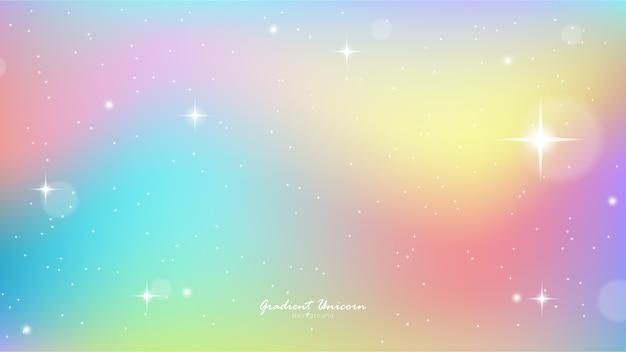 Jednorożec niebo kolorowy gradient Premium Wektorów