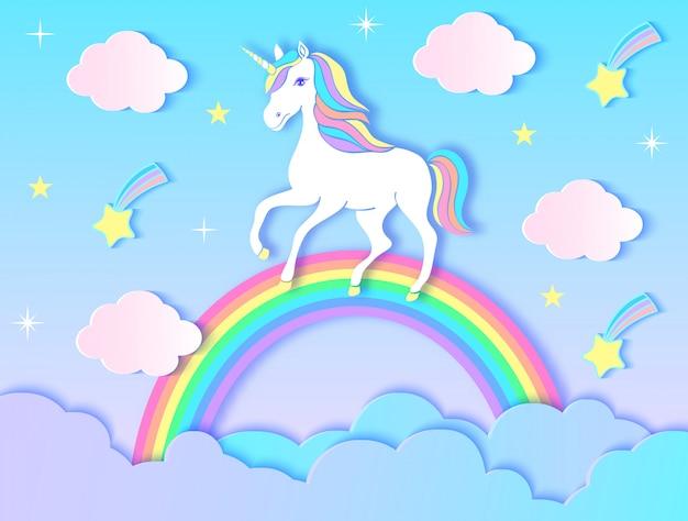 Jednorożec papieru, chmury, tęcza i gwiazdy na fioletowym tle gradientu. ilustracji wektorowych. Premium Wektorów