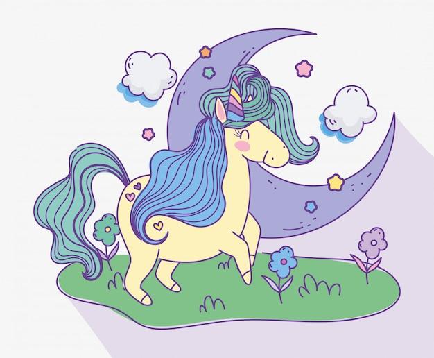 Jednorożec Pół Księżyca Chmurnieje łąka Kwitnie Fantazi Kreskówki Wektoru Magiczną Ilustrację Premium Wektorów