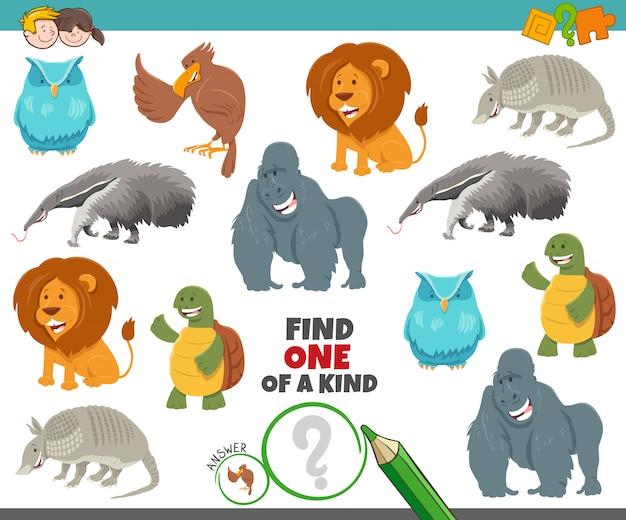 Jedyna W Swoim Rodzaju Gra Dla Dzieci Ze Zwierzętami Z Kreskówek Premium Wektorów