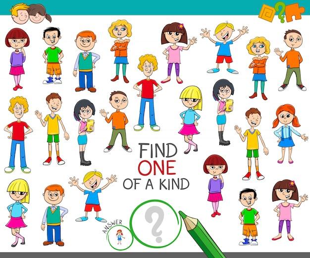 Jedyna W Swoim Rodzaju Gra Z Kolorową Książką Dla Dzieci Premium Wektorów