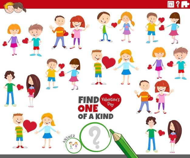Jedyna W Swoim Rodzaju Gra Z Parami Dzieci Z Kreskówek Na Walentynki Premium Wektorów