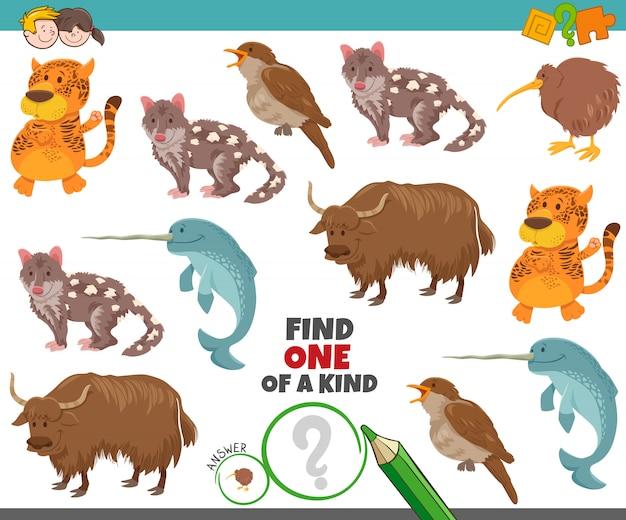 Jedyne w swoim rodzaju zadanie dla dzieci ze zwierzętami z kreskówek Premium Wektorów