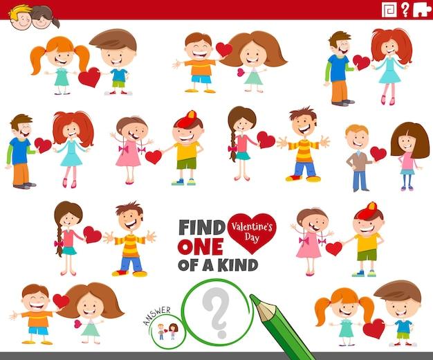 Jedyne W Swoim Rodzaju Zadanie Z Parami Dzieci Z Kreskówek Na Walentynki Premium Wektorów