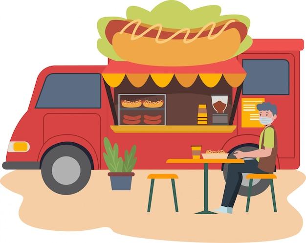 Jedzenie Ciężarówki Sprzedawania Hotdog Uzupełnia Z Niektóre Krzesłem I Stołem Dla Klient Ilustraci Premium Wektorów