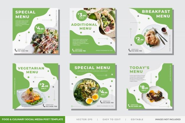 Jedzenie I Kulinarne Szablon Postu W Mediach Społecznościowych Premium Wektorów