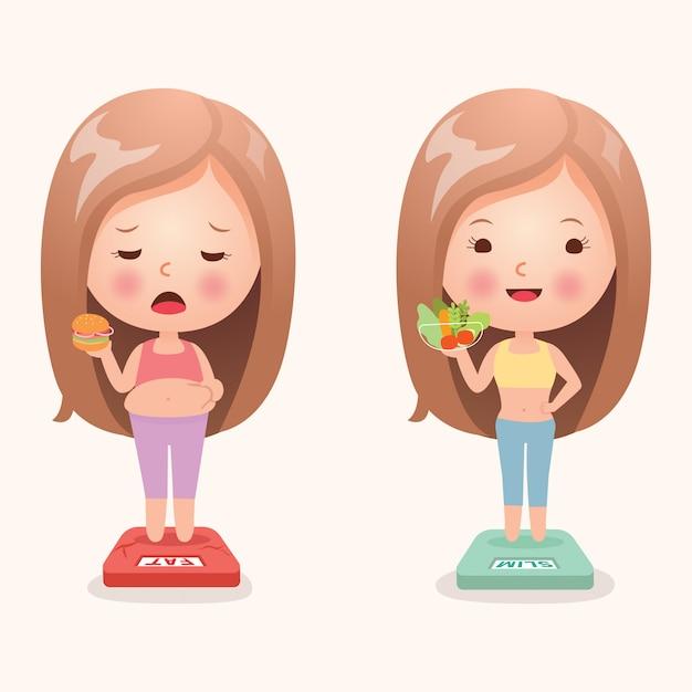 Jedzenie wpływa na wagę dziewcząt Premium Wektorów