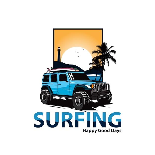 Jeep na plaży Premium Wektorów