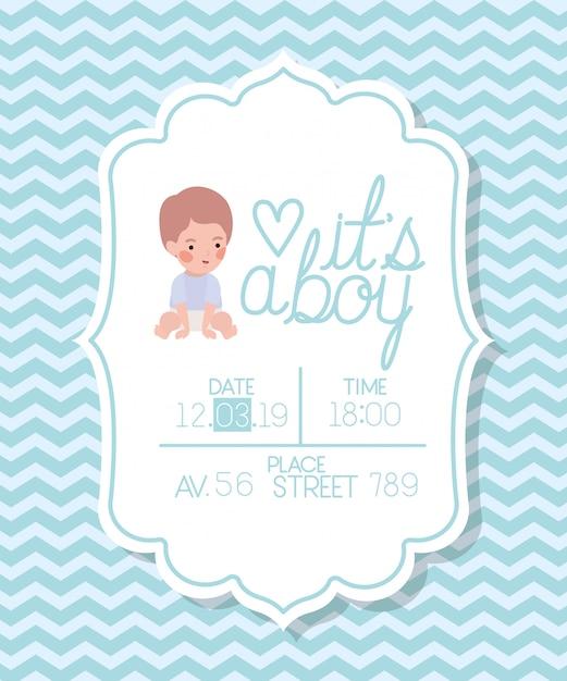 Jego karta baby shower z małym dzieckiem Darmowych Wektorów