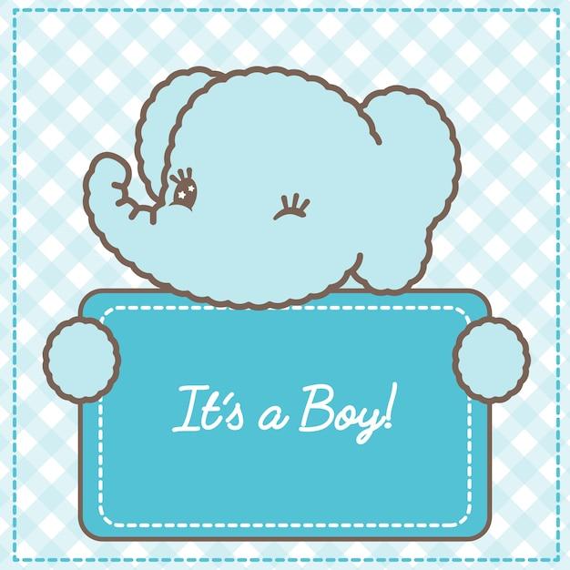 Jego Karta Słoniątka Dla Chłopca Na Baby Shower Premium Wektorów