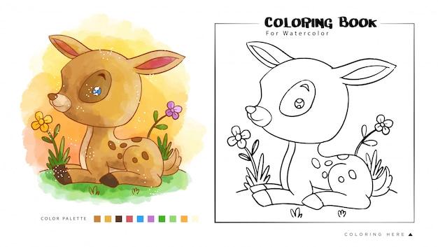 Jeleń Mysz Siedzieć W Ogrodzie, Ilustracja Kreskówka Dla Kolorowanka Akwarela. Premium Wektorów