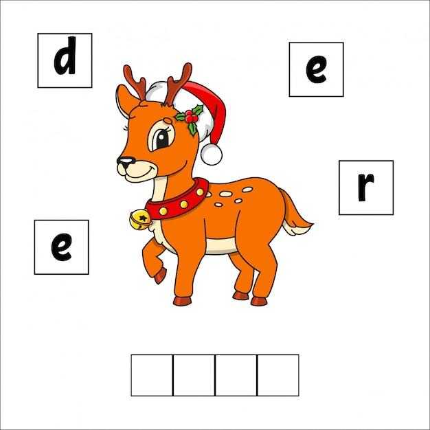 Jeleń Puzzle Ze Słowami. Arkusz Rozwijający Edukację. Gra Edukacyjna Dla Dzieci. Premium Wektorów