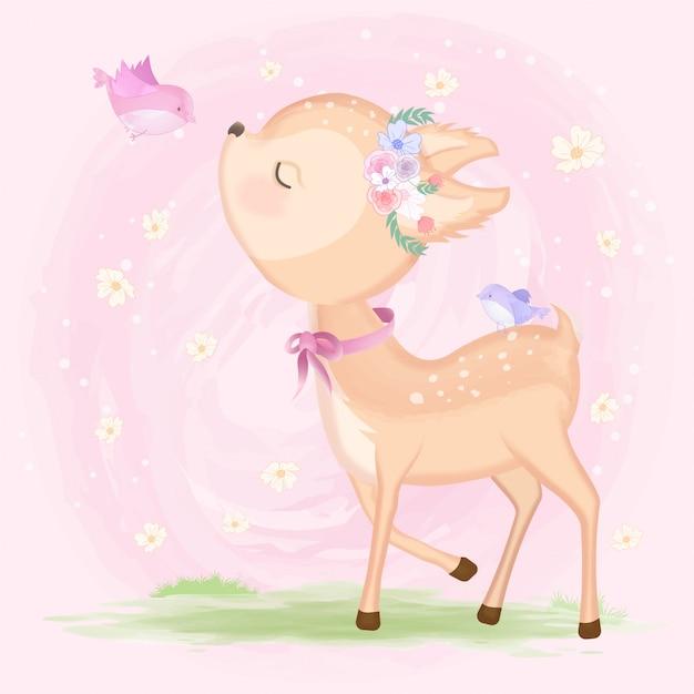 Jeleń słodkie dziecko z ptakiem ręcznie rysowane na różowo Premium Wektorów