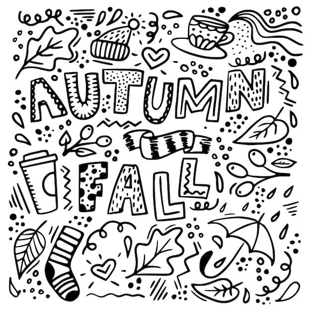 Jesień Doodle Tło Premium Wektorów