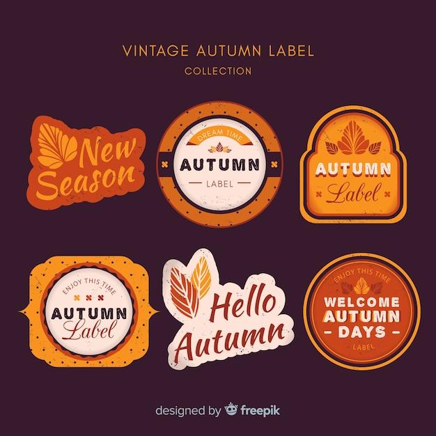 Jesień Etykiety Kolekcji Stylu Vintage Darmowych Wektorów