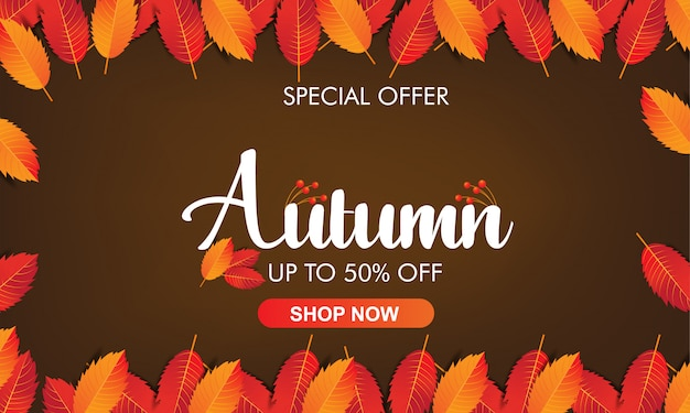 Jesień Kolorowych Liści Ramowy Tło Premium Wektorów