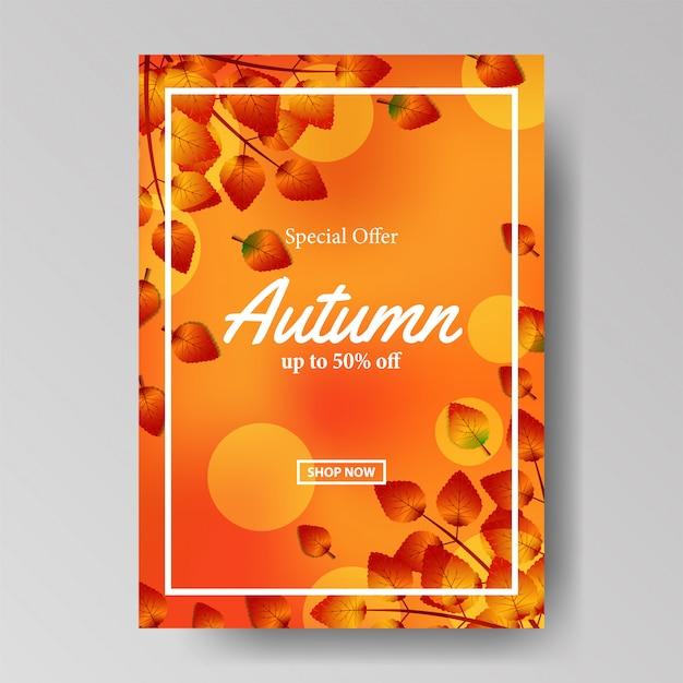 Jesień Plakat Sprzedaż Jesień Tło Premium Wektorów