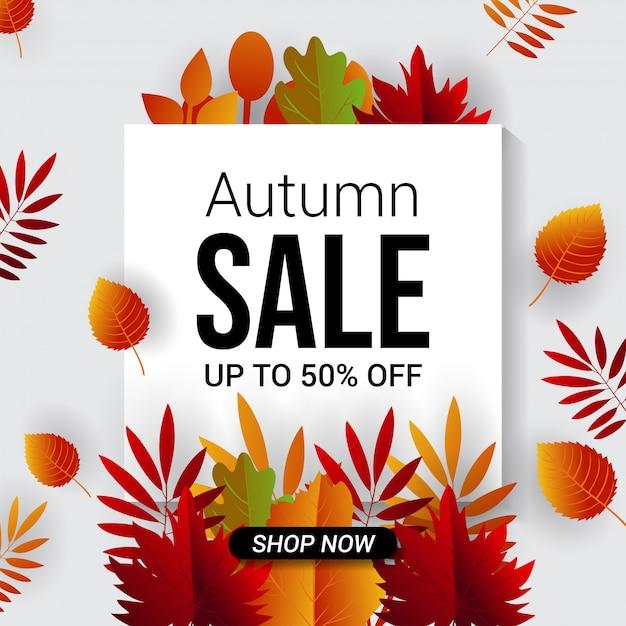 Jesień Sprzedaż Szablon Transparent Tło Premium Wektorów