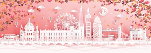 Jesień w londynie, w anglii spadające liście klonu i światowej sławy zabytków Premium Wektorów