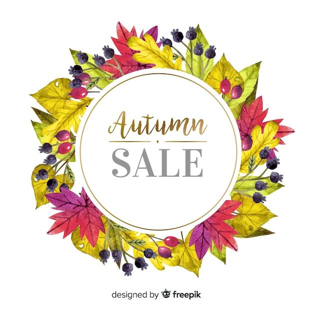 Jesieni Sprzedaży Stylu Akwareli Tło Darmowych Wektorów