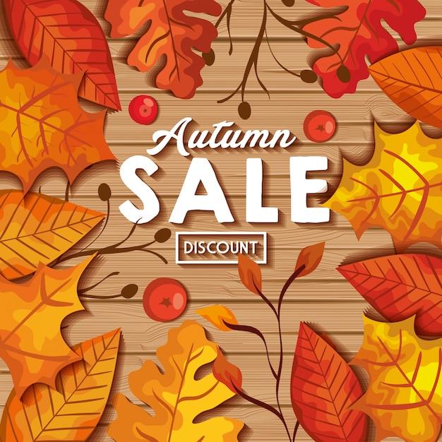 Jesieni Sprzedaży Sztandar Z Liśćmi Na Drewnie Darmowych Wektorów