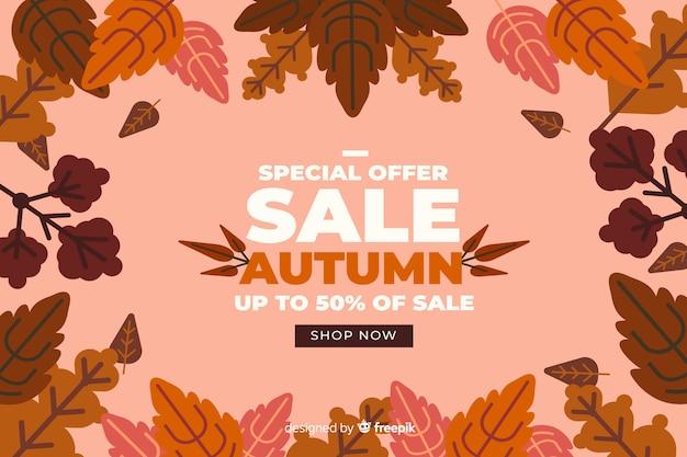 Jesieni Sprzedaży Tła Płaska Projekt Darmowych Wektorów
