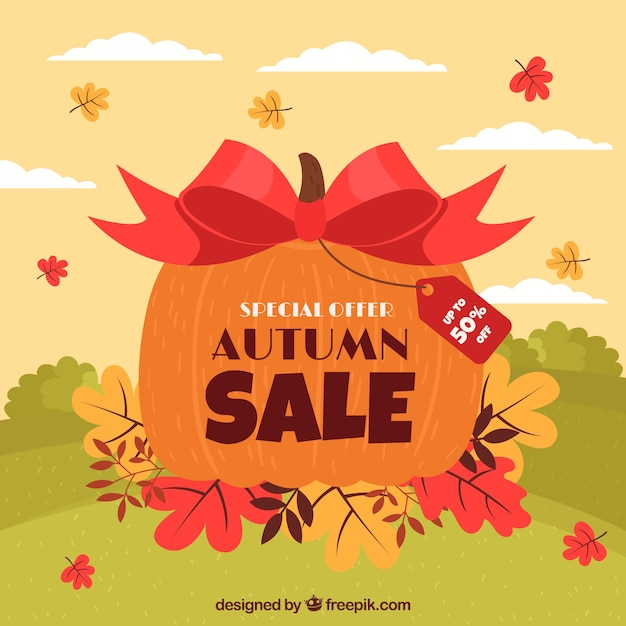 Jesieni sprzedaży tło z banią Darmowych Wektorów