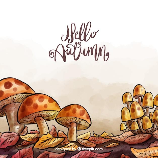 Jesieni Tło Z Akwareli Mushroomms Premium Wektorów