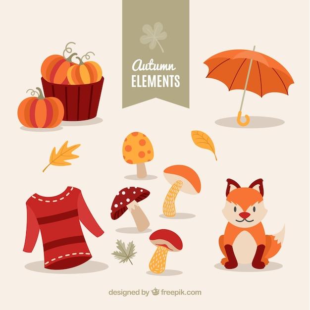 Jesienią Kolekcji Elementów Z Małym Lisem Darmowych Wektorów