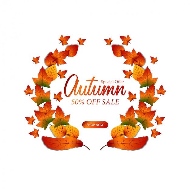 Jesienna Jesień Sprzedaż Liści Wieniec Laurowy Premium Wektorów