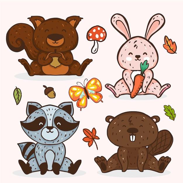 Jesienna Kolekcja Zwierząt Leśnych Darmowych Wektorów