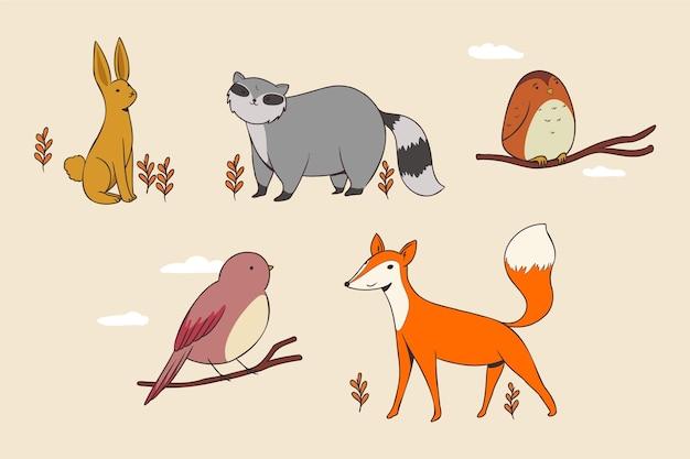 Jesienna Kolekcja Zwierząt Darmowych Wektorów