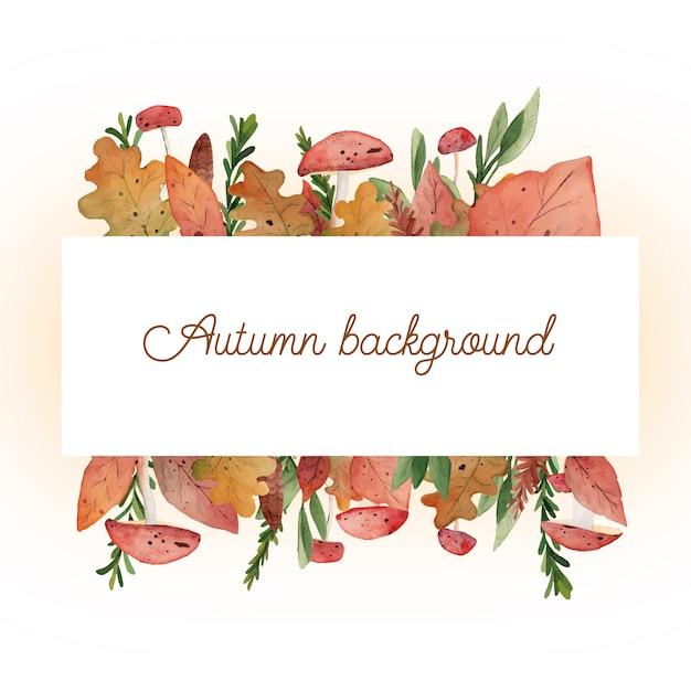 Jesienna rama rośliny akwarela Premium Wektorów