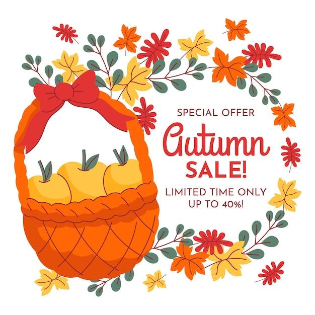 Jesienna Sprzedaż Ręcznie Rysowane Transparent Darmowych Wektorów