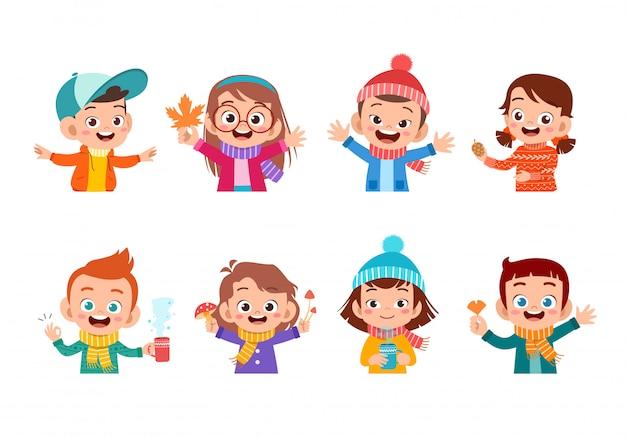 Jesienna twarz dzieci Premium Wektorów