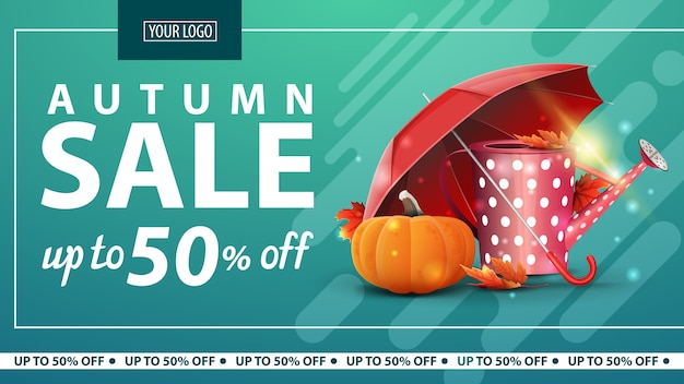 Jesienna wyprzedaż, zniżka na poziomy baner internetowy dla sklepu internetowego z konewką ogrodową Premium Wektorów