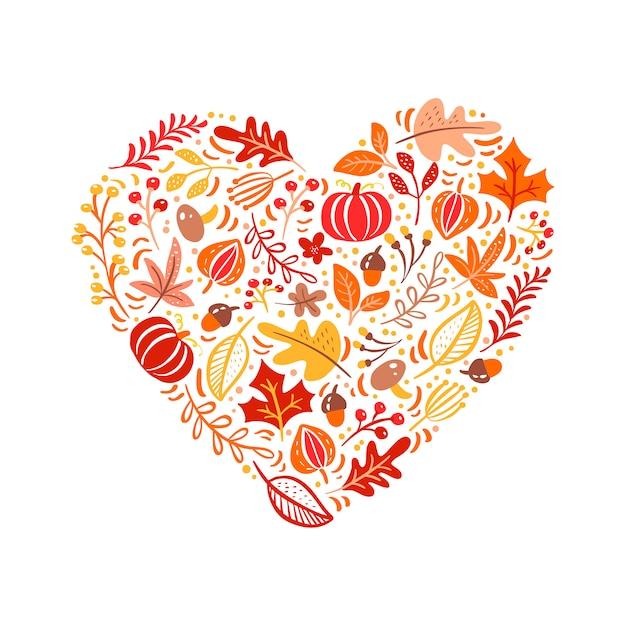 Jesienne elementy wykonane w miłości serca Premium Wektorów