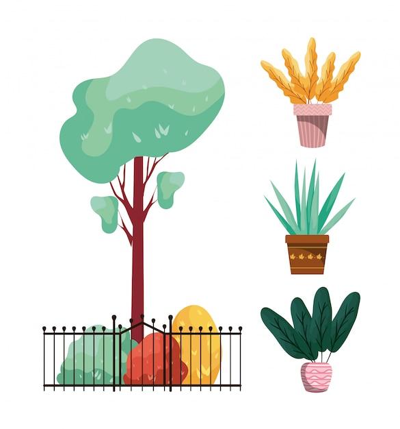 Jesienne Rośliny W Metalowych I Ceramicznych Doniczkach Premium Wektorów