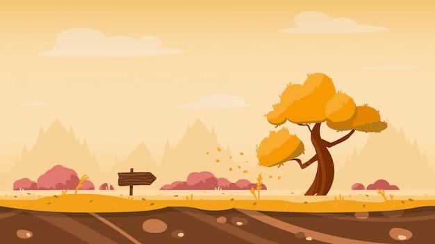 Jesienne Tło Gry Z Drzewa I Strzałki Premium Wektorów