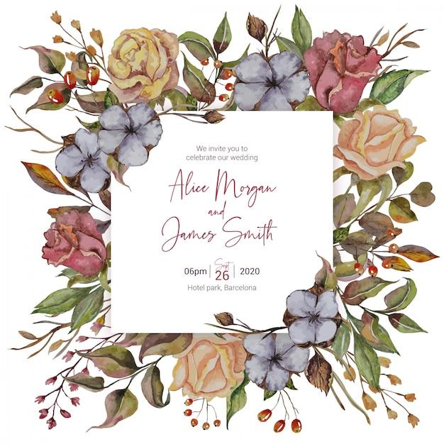 Jesienne zaproszenie na ślub z róż i bawełny Premium Wektorów