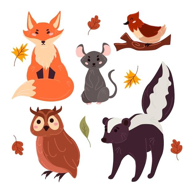 Jesienne Zwierzęta Leśne Ręcznie Rysowane Projekt Darmowych Wektorów