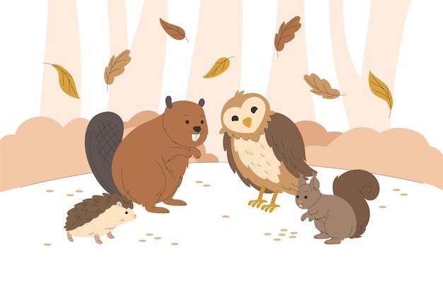 Jesienne Zwierzęta Leśne, Rysunek Darmowych Wektorów