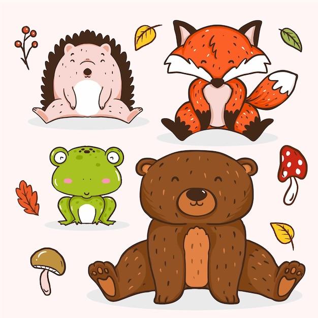 Jesienne Zwierzęta Leśne Darmowych Wektorów